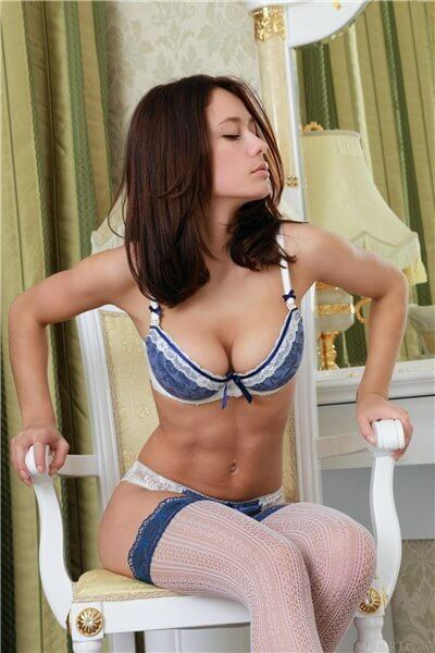 Asian side incandescent puss Melissa is ready for new erotic adventures and that is why she is dressed in nothing but blue lingerie